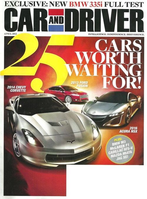 C7 Corvette Illustration on Cover of Car and Driver's April 2012 Magazine