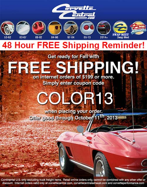 Corvette Central Offering Free Shipping