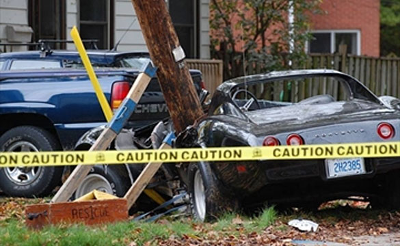 [ACCIDENT] Community Loses Power after 1974 Corvette Slams into Utility Pole