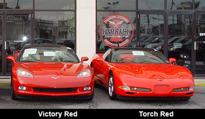 Victory Red C6 (L) and a Torch Red C5 (R)