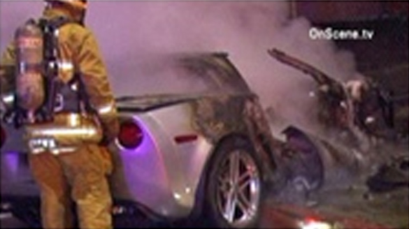 Driver Flees as Crashed Corvette Burns