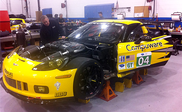 #4 Corvette C6.R Being Prepped at Pratt & Miller