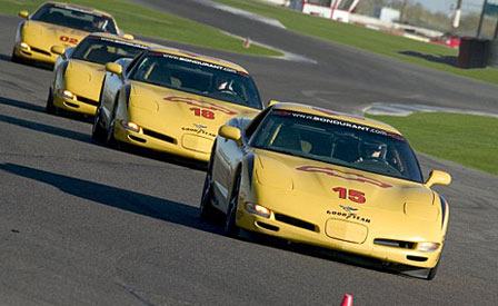 Corvettes on the track at Bondurant