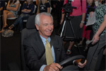 Kentucky Governor Steve Beshear takes the National Corvette Museum's new driving simulators for a spin.