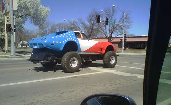 Corvette Pic of the Day: Red White and Blue 4x4 Edition