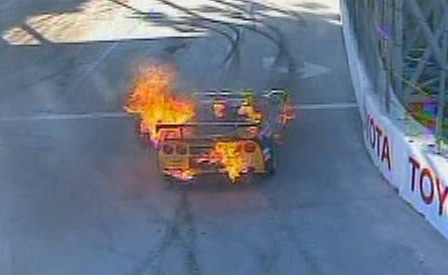LG Motorsports GT2 Corvette Catches Fire at Long Beach