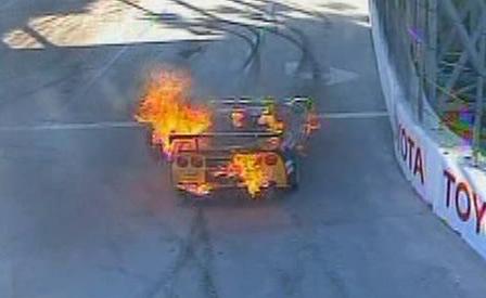 LG Motorsports GT2 Corvette Catches Fire at Long Beach