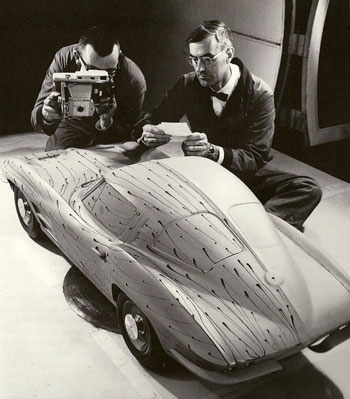 GM Employees Inspect 1963 Corvette Clay Model