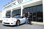Ron Fellows outside the Kerbeck Corvette Showroom