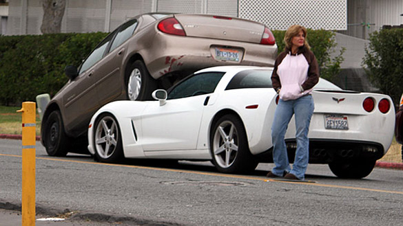 [ACCIDENTS] Cellphone-Talking Corvette Driver Gets Under a Dodge Neon