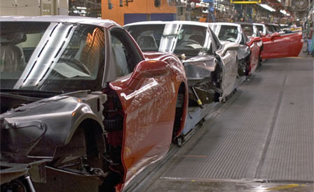 Corvette's on the assembly line in Bowling Green