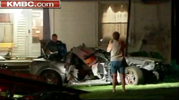 [ACCIDENTS] Corvette Hits Tree, Lands on Home's Front Porch