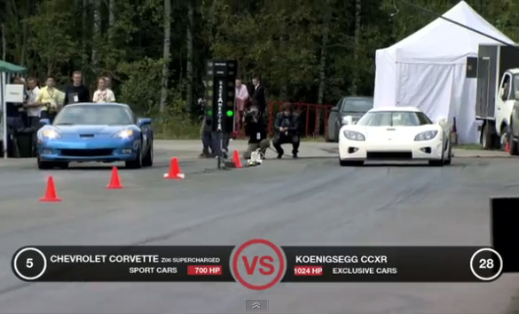 Supercharged Corvette Z06 vs Koenigsegg CCXR
