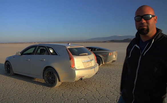 Cadillac CTS-V Wagon Goes on Top Speed Run and Races a C6 Corvette