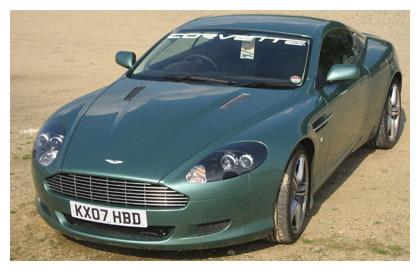Aston Martin with Corvette Windshield Banner