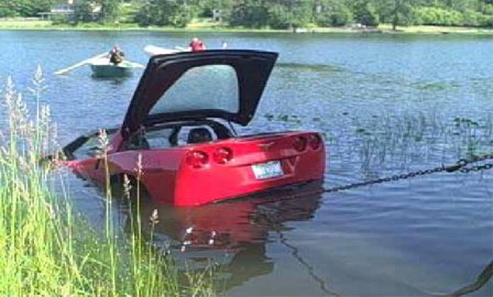 Corvette Gets Fished Out of Lake