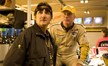Ron Fellows and Johnny O'Connell in the Corvette Racing Garage at Le Mans