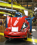 A 2007 Corvette being assembled in Bowling Green