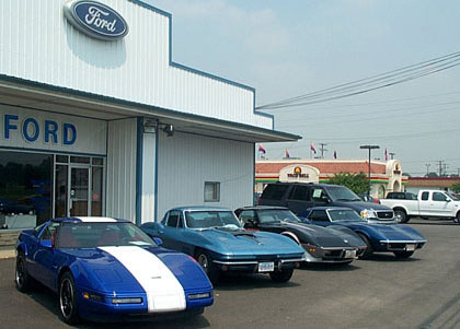 Corvettes at a Ford Dealership on Drive Your Corvette to Work Day