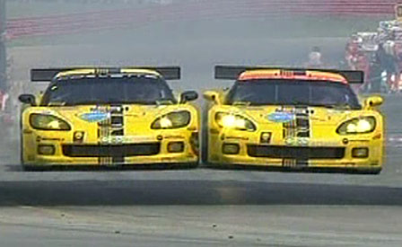 The #3 and #4 Corvette C6.Rs Battle for the win at Mid Ohio