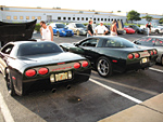Corvettes on display at Cars and Coffee