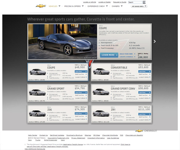 GM Updates Corvette.com for the 2011 Model Year