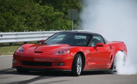The 2009 Corvette ZR1 doing a burnout