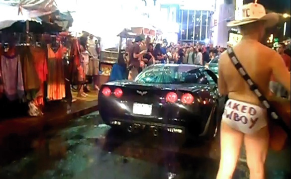Morning Burnout: Outrageous Corvette Z06 in Times Square