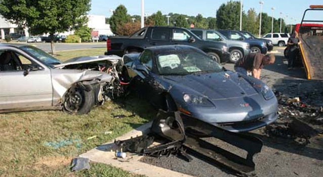 State Trooper Crashes Into a Corvette Parked at a Maryland Chevy Dealership