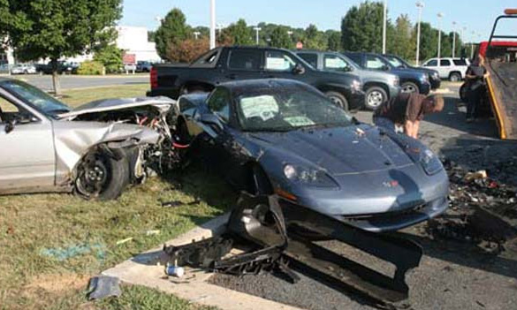 State Trooper Hits a Corvette Parked at a Maryland Chevy Dealership