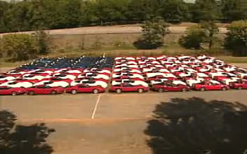 Red, White and Blue Corvettes Make Giant American Flag
