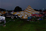 Storm wrecks the 1957 Corvette display