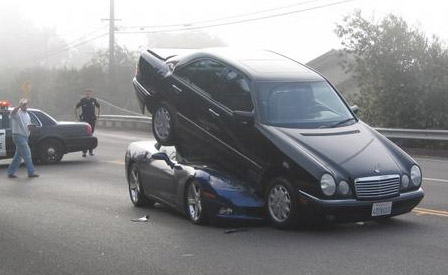 C6 Corvette and a Mercedes Benz Getting It On