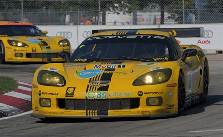 The #4 Corvette at the Detroit Sports Car Challenge