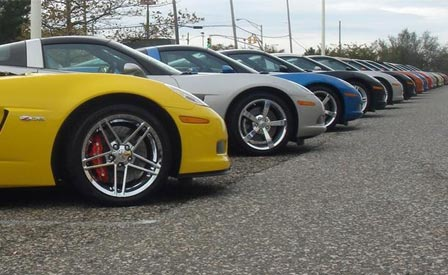 Corvettes on a dealer's lot