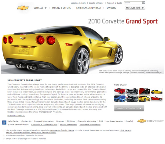 Chevy Launches Webpage Dedicated 2010 Corvette Grand Sport