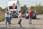 Corvette assembly line workers picket on Corvette Drive