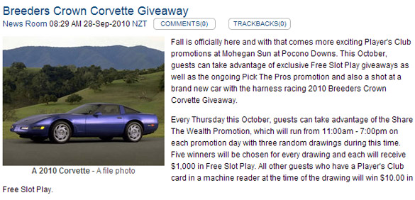 [FAIL] Win a New 2010 Corvette!