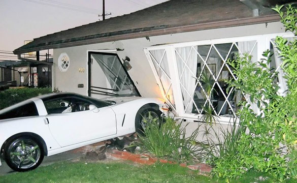 Intoxicated Corvette Driver Parks C6 in Burbank Home