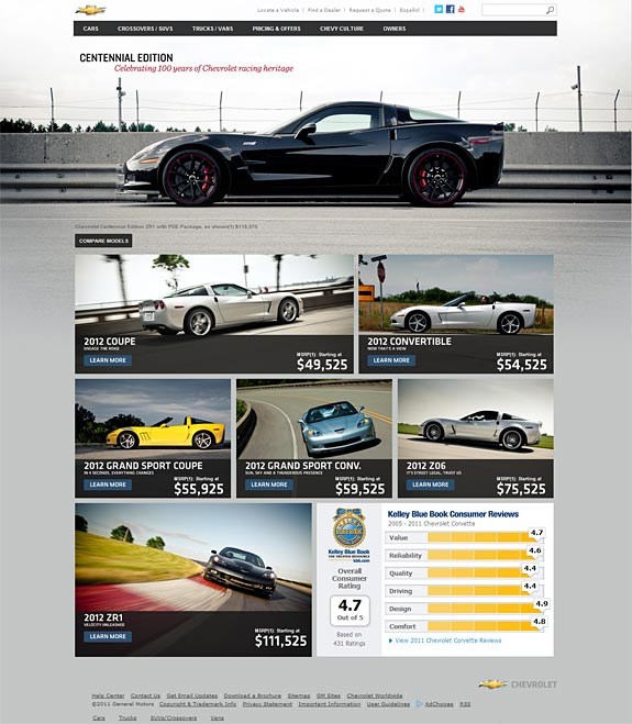 Configure Your New Corvette on the New 2012 Corvette Website