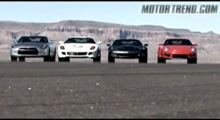 Motor Trend Corvette ZR1, Nissan GT-R, Ferrari 599 GTB and Porsche GT2