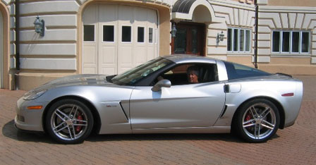 Mario Andretti in his 2006 Corvette Z06