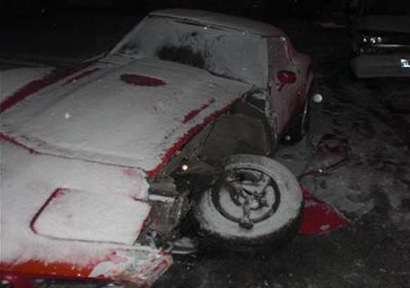 Corvette Smashed By Van Carrying 2 Dead Bodies