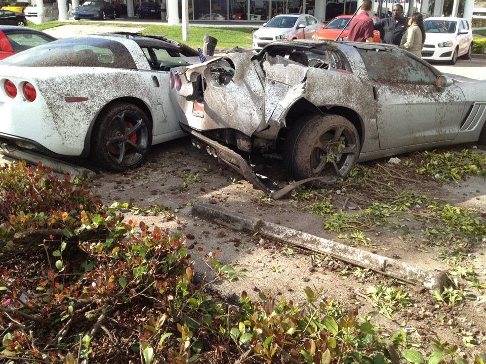 Drunk Driver Crashes Into Corvette Grand Sports at Chevy Dealership
