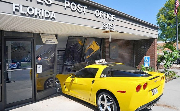 [ACCIDENT] 2012 Yellow Corvette Crashes into Goldenrod Post Office