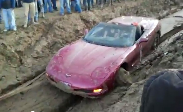 [VIDEO] Man Goes Mud Boggin' in a Convertible C5 Corvette