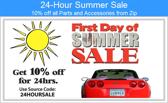 Zip Corvette Hosting a 24-Hour Summer Sale - Save 10%!