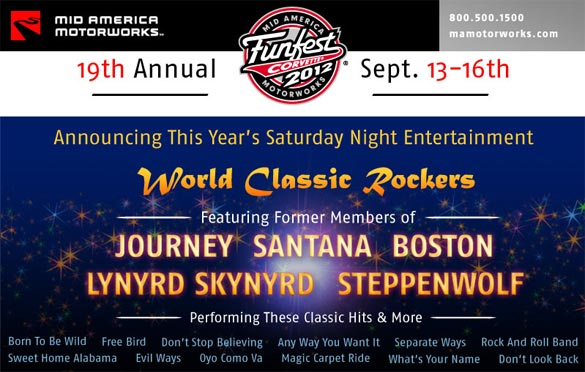 Mid America Motorworks Announces Slate of Entertainment for Corvette FunFest