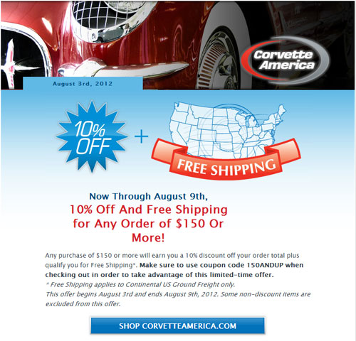 Corvette America is Offering 10% off and Free Shipping