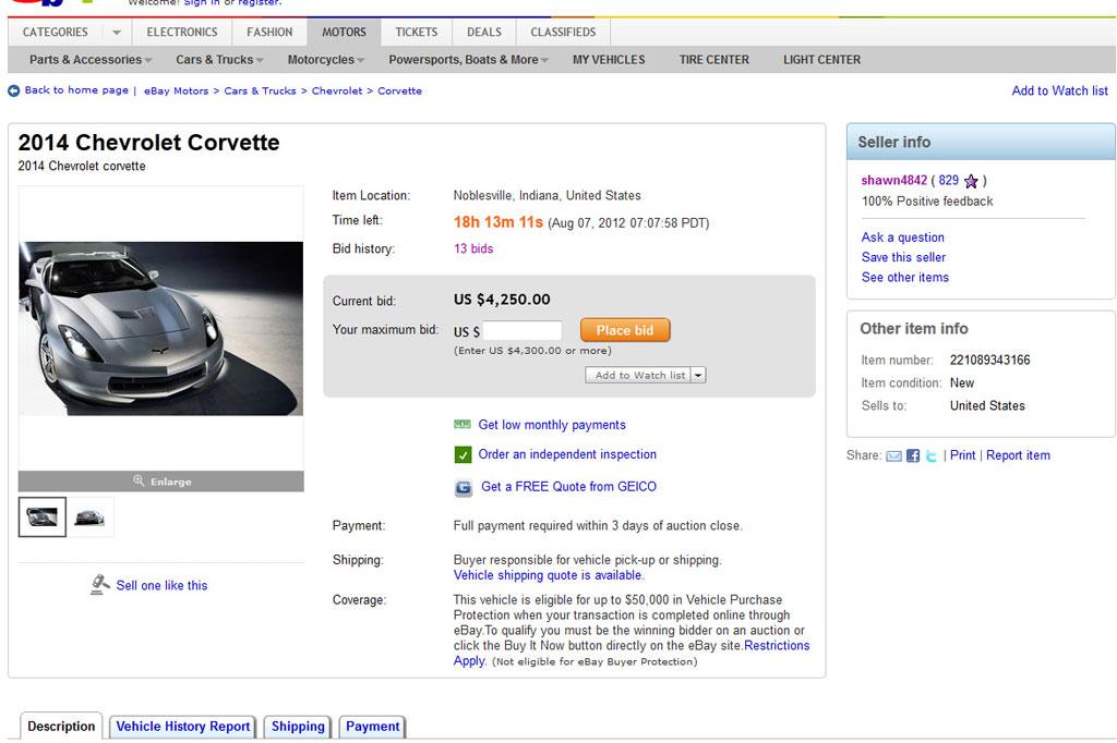 eBay Ad for 2014 C7 Corvette Removed - CorvetteForum
